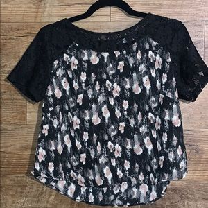 Lush Crop Top with lace shoulders size Medium